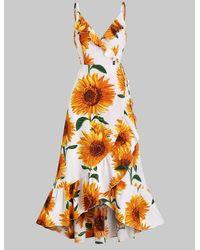 Rosegal Sunflower Print Flounce Wrap Maxi Dress - White