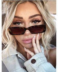 Rosegal Rectangle Frame Slim Sunglasses - Brown