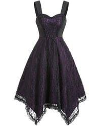 Rosegal Lace Up Gothic Asymmetrical Lace Dress - Multicolor