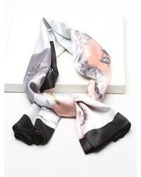 Rosegal Floral Chain Print Faux Silk Scarf - Multicolor