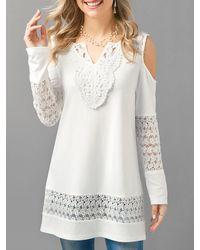 Rosegal Lace Panel V Neck Cold Shoulder T-shirt - White