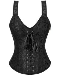 Rosegal Plus Size Brocade Jacquard Lace-up Corset Top - Black
