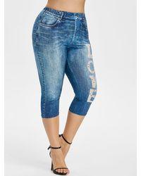 Rosegal Plus Size 3d Jean Print Love Graphic Capri Leggings - Blue