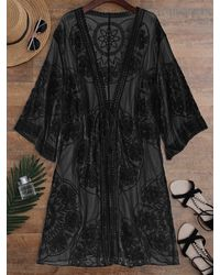 Rosegal Embroidered Sheer Kimono Cover Up - Black