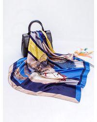 Rosegal Colorblock Horse Print Faux Silk Scarf - Blue