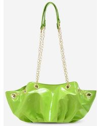 Rosegal Pleated Chain Patent Leather Shoulder Bag - Green