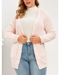 Rosegal Plus Size Pockets Open Front Chunky Cardigan - Pink