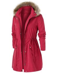 Rosegal Plus Size Furry Hooded Big Pocket Field Coat - Red