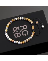 Rose Gold and Black Minimal Crazy Lace Agate Bead Bracelet - Multicolor