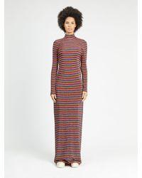 Rosetta Getty Metallic Striped Stretch-knit Turtleneck Maxi Dress - Red