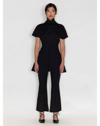 Rosetta Getty Funnel Neck Fitted Top - Black