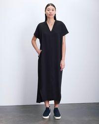 Roucha Dome Vneck Short Sleeve Drape Dress - Black