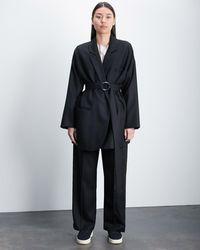 Roucha Oba Italian Wool Wrap Blazer - Black