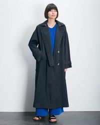 Roucha Ora Notched Front Trench Coat C - Black