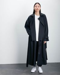 Roucha Ora Notched Front Trench Coat B - Black