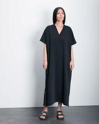 Roucha Deo Short Sleeve Vneck Drape Dress - Black