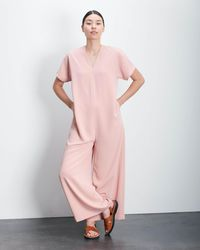 Roucha Jome Vneck Short Sleeve Drape Jumpsuit - Pink