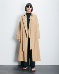Roucha Ora Notched Front Trench Coat B - Multicolor