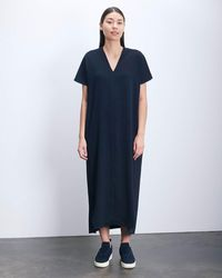 Roucha Dome Vneck Short Sleeve Drape Dress - Blue