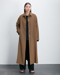 Roucha Oda Draped Wool Button Up Coat - Brown