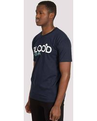 Blood Brother Trademark Printed T-shirt Navy - Blue