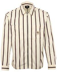 Stussy Stripe Zip Up Workshirt Ecru - Multicolor