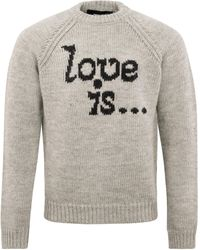 DSquared² F.3 Love Is Knitted Crewneck Charcoal - Gray