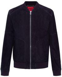 HUGO Slim-fit Bomber Jacket In Suede With Sleeve Pocket - Blue