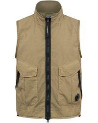 C.P. Company Pocket Lens Lightweight Vest Beige - Natural