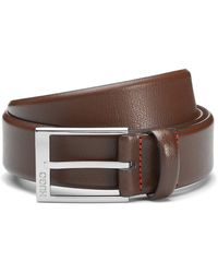 HUGO Grained-leather Belt With Logo-engraved Buckle - Brown