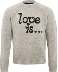 DSquared² F.3 Love Is Knitted Crewneck Charcoal - Grey