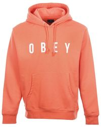Obey - Way Hood Sweat Coral - Lyst