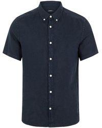 J.Lindeberg Fredrik Bd Clean Linen Ss Shirt Navy - Blue