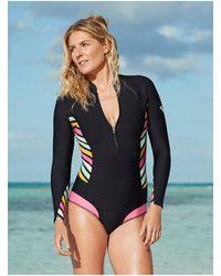 Roxy Long Sleeve Back Zip Bikini Cut Shorty - Black