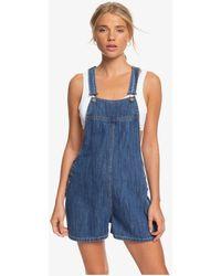 Roxy Denim Dungaree Shorts - Blue
