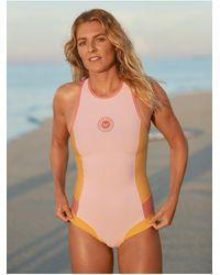 Roxy Back Zip Bikini Cut Sleeveless Springsuit - Pink