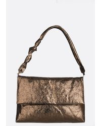 Zilla Brown Laminated Leather Knot Messenger Bag