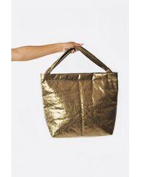 Zilla Brass Laminated Leather Big Shoulder Tote - Metallic