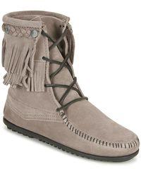 Minnetonka Doublefringetramperboot Mid Boots - Grey