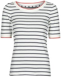 Esprit Rayures Col Rouge T Shirt - White