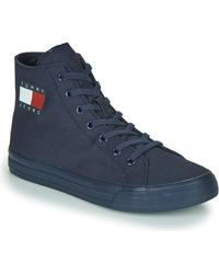 Tommy Hilfiger Wmns Mid Cut Lace Up Vulc Shoes (high-top Trainers) - Blue