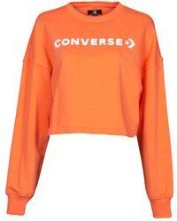 Converse Embroidered Wordmark Crew Sweatshirt - Orange