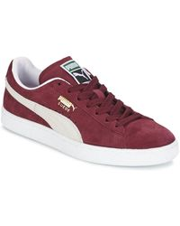 PUMA Suede Classic Trainers Burgundy White - Red