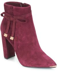 Ted Baker Burgundy Suede Heeled Ankle Boots With Bow - Red
