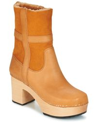 Swedish Hasbeens Hippie Low Women's Low Ankle Boots In Brown