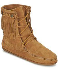 Minnetonka - Double Fringe Tramper Boot Mid Boots - Lyst