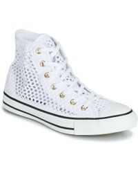 Converse Chuck Taylor All Star Handmade Crochet Hi Women's Shoes (high-top Trainers) In White