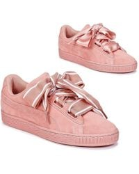 timeless design 348f6 2bef5 Suede Heart Satin Trainer - Pink