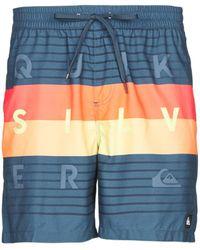 Quiksilver Word Block Volley Trunks / Swim Shorts - Blue