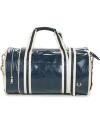 Fred Perry Navy And Ecru Polyurethane Classic Barrel Bag - Blue
